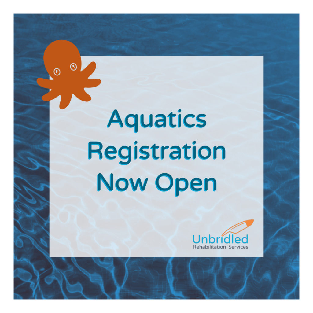 "Octopus over water with text saying ""Aquatics registration now open"""